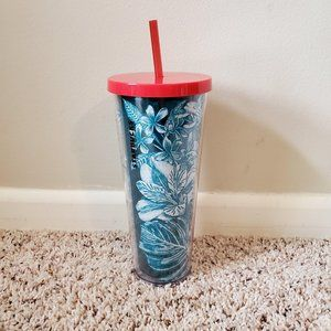 Starbucks Blue Tropical Flowers 24oz Cold Cup